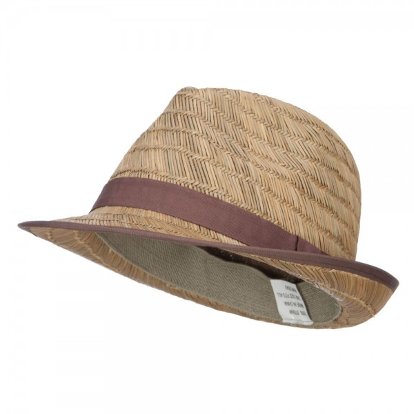 Men's Diagonal Pattern Straw Fedora - Natural