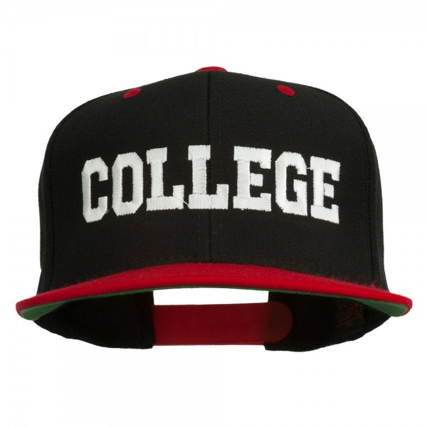 College Embroidered Snapback Cap - Black Red