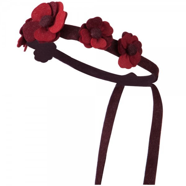 Felt Daisy Chain Tie Back Hair Band - Red