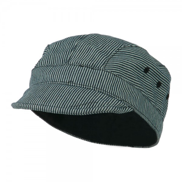 Engineer Stripe Cabbie Cap - Navy White