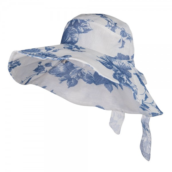 Floral Design Bow Crushable Hat - Blue