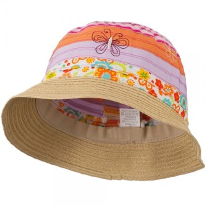 Girl's Bucket Hat with Embroidered Flowers and Butterflies - Orange Pink