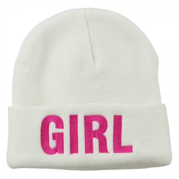 Girl Embroidered Cuff Long Beanie - White