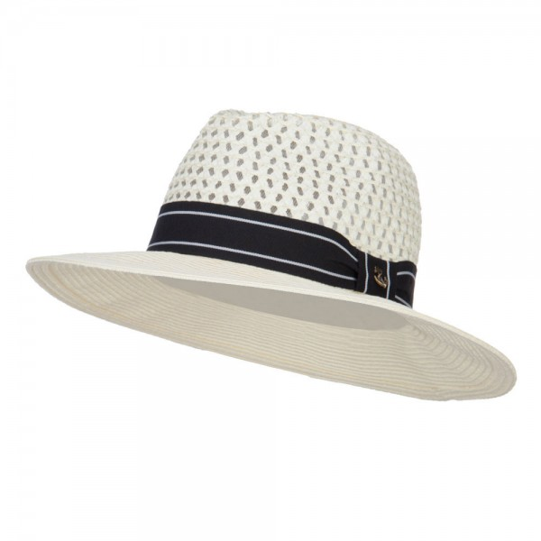 Black Band Straw Panama Hat - Ivory