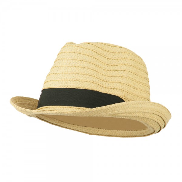 Braided Paper Straw Fedora Hat - Natural Black