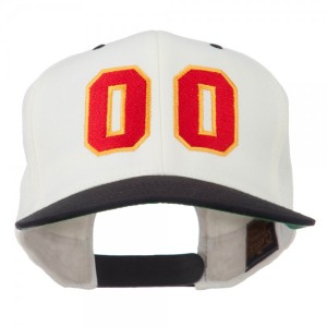 Athletic Number 00 Embroidered Classic Two Tone Cap - Natural Black