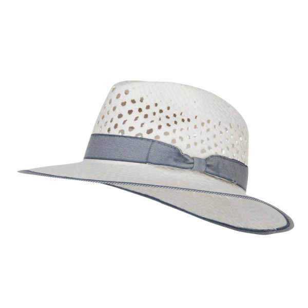 Denim Band Straw Panama Hat - White