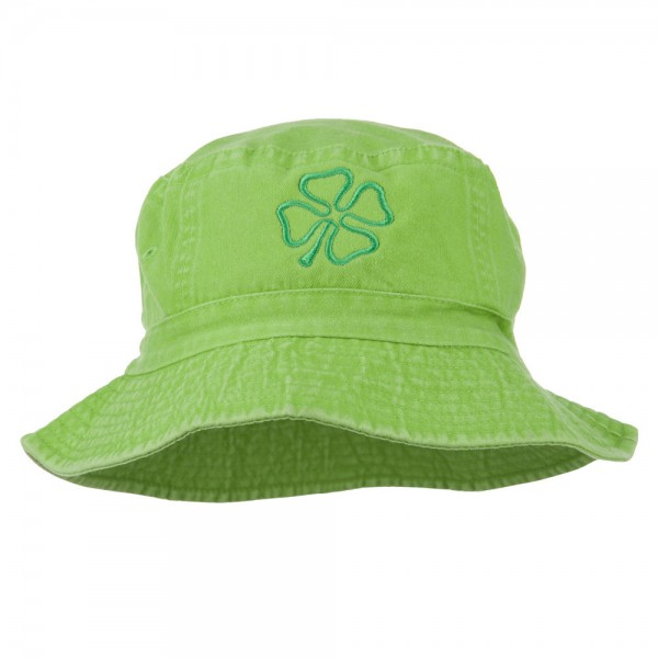 Saint Patrick's Four Leaf Clover Embroidered Bucket Hat - Apple Green