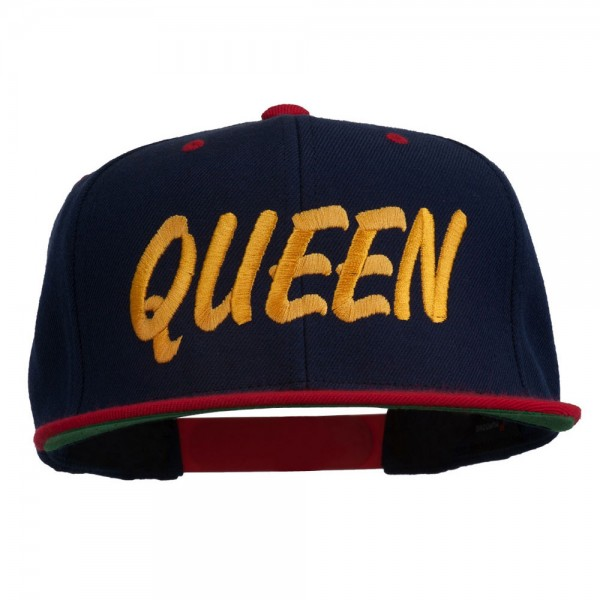 Queen Embroidered Two Tone Snapback Cap - Navy Red