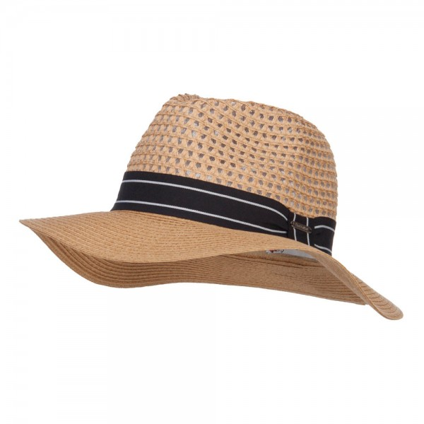 Striped Band Paper Panama Hat - Natural