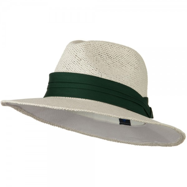 Safari Straw Hats - White Green Band