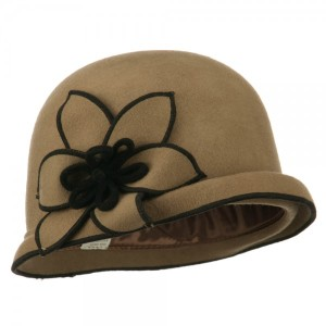 Women's Wool Felt Stitched Cloche - Beige