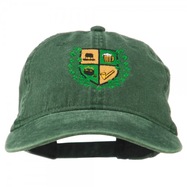 St Patrick's Day Crest Embroidered Washed Cap - Dk Green
