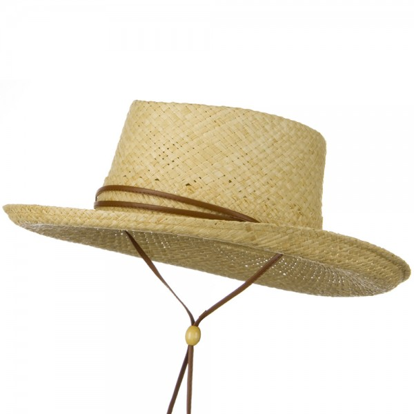 UPF 50+ Gambler Raffia Natural Straw Hat - Natural