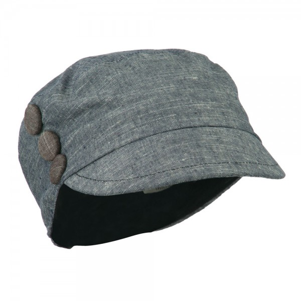 Women's Cotton Viscose Military Cabbie Cap with Button Detail - Blue