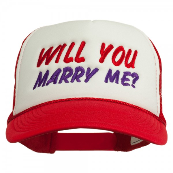 Will You Marry Me Embroidered Mesh Cap - Red White Red