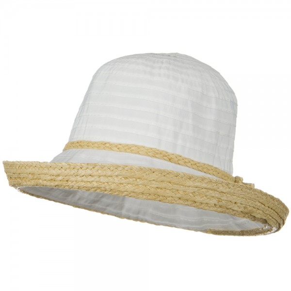 Tape Braid Raffia Straw Hat - White