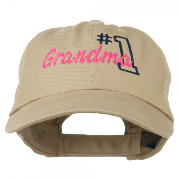 Number 1 Grandma Embroidered Cotton Cap - Khaki