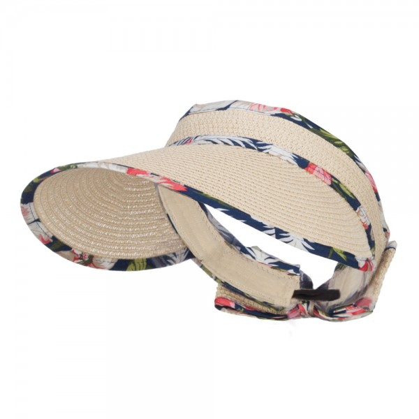Floral Edge Roll Up Sun Visor - Natural