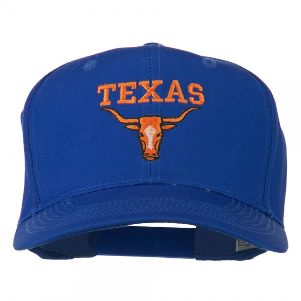 Texas Longhorn Embroidered Cotton Twill Cap - Royal