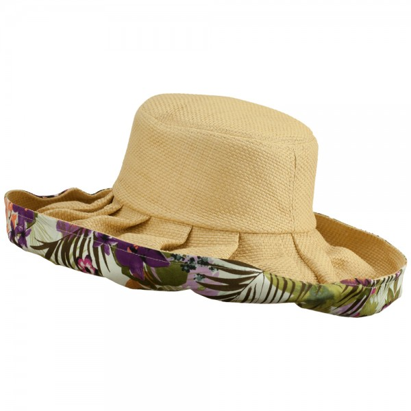 Paper Matte Fashion Roll Up Hat - Purple Floral