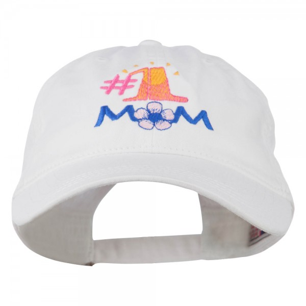 Number 1 Mom Embroidered Washed Cap - White