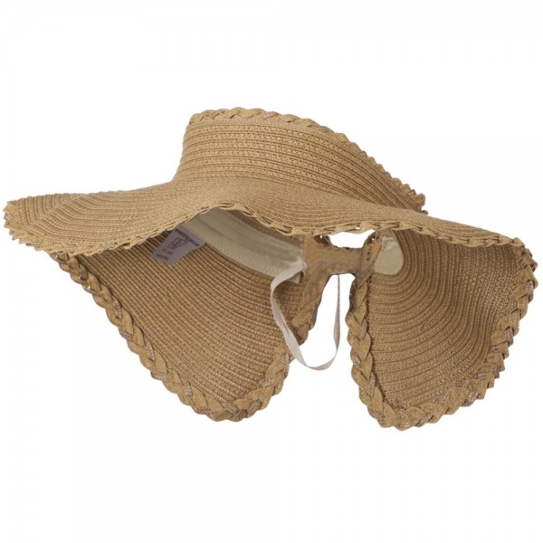 Paper Braid Ribbon Closure Roll Up Visor - Natural Khaki