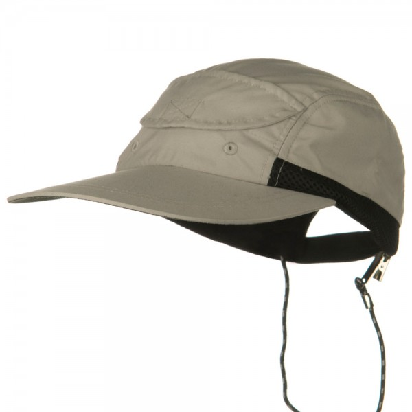 Side Mesh Microfiber Water Repellent Long Bill Cap - Khaki