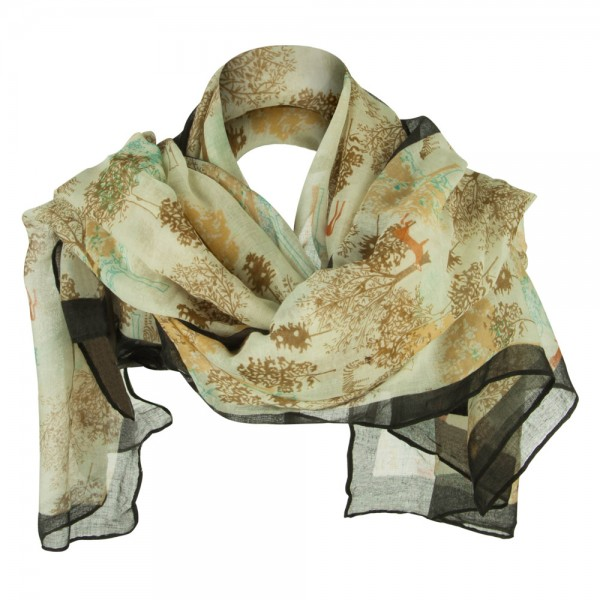 Tree Deer Summer Scarf - Beige