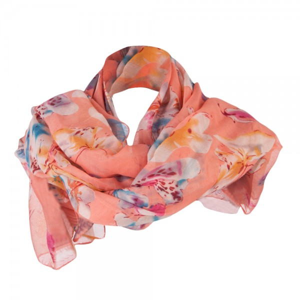 Watercolor Butterflies Summer Scarf - Peach